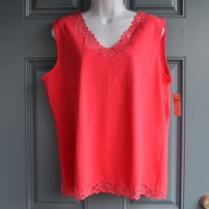 Coral Double Lace Tank by Coldwater Creek Sz. XL